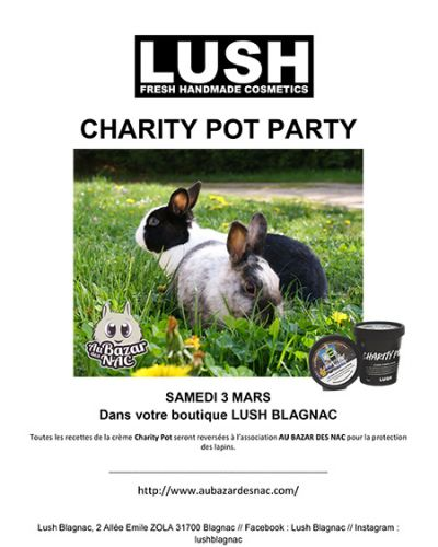 Charity Pot Party le 3 mars à Lush Blagnac